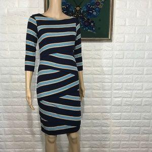 Bailey 44 Blue stripe stretch dress size M